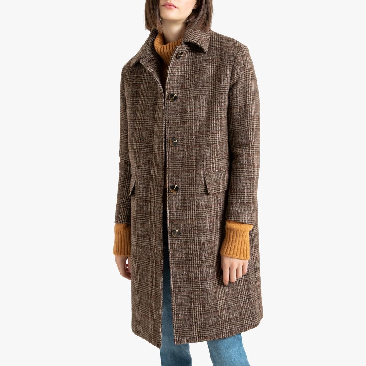 Пальто La Redoute Длинное в клетку из шерстяного драпа 42 (FR) - 48 (RUS) каштановый