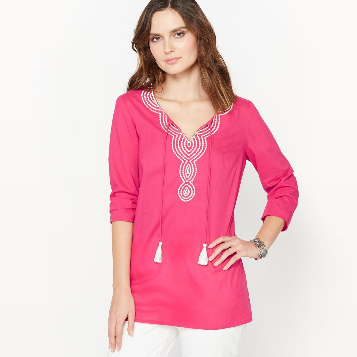 Блузка свободная с вышивкой