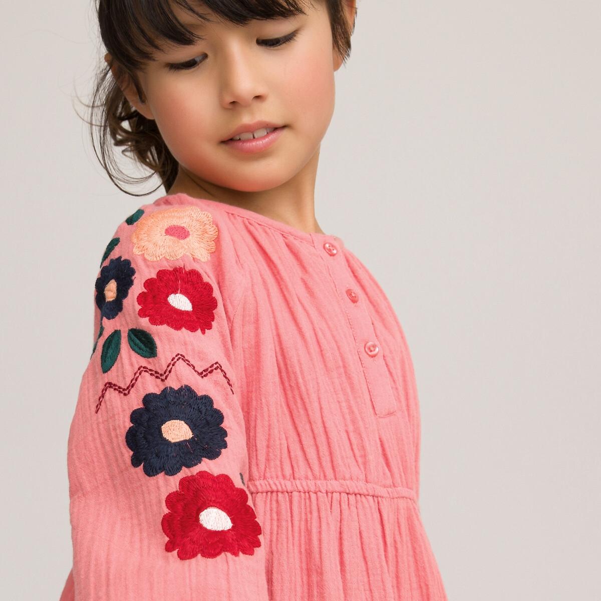 Фото - Платье LaRedoute Из хлопчатобумажной газовой ткани 3-12 лет 7 лет - 120 см розовый платье laredoute с короткими рукавами из хлопчатобумажной газовой ткани 3 12 лет 3 года 94 см розовый
