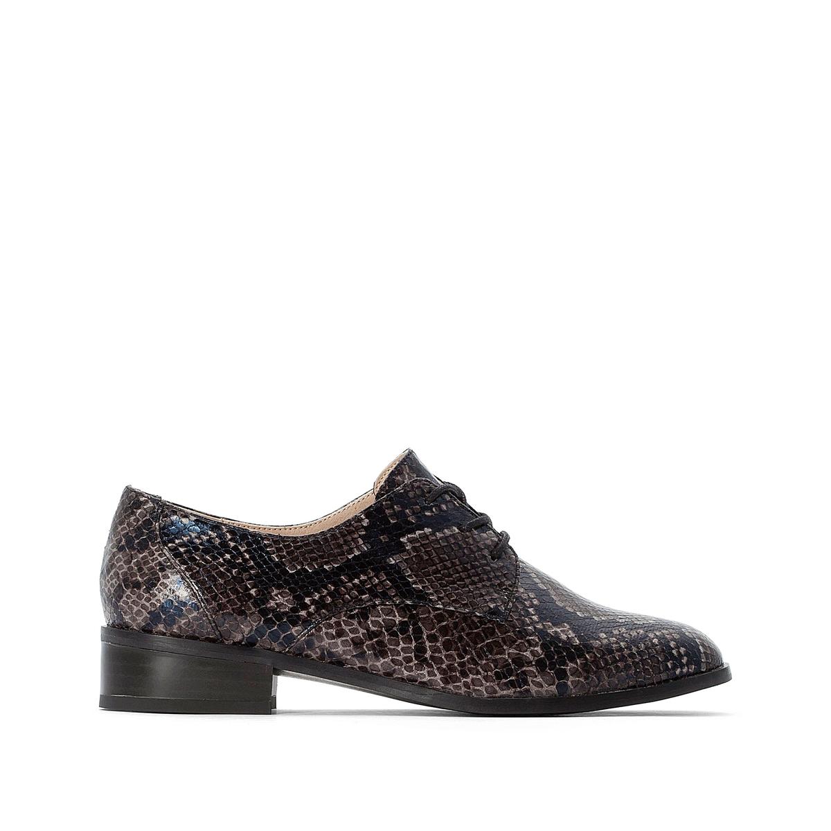 Ботинки-дерби La Redoute На шнуровке имитация кожи питона 37 каштановый