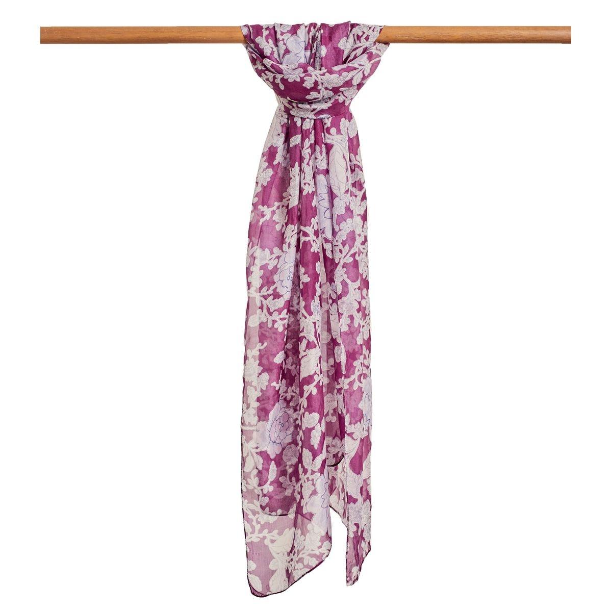 Foulard fleuri pure soie imprimé fleuri