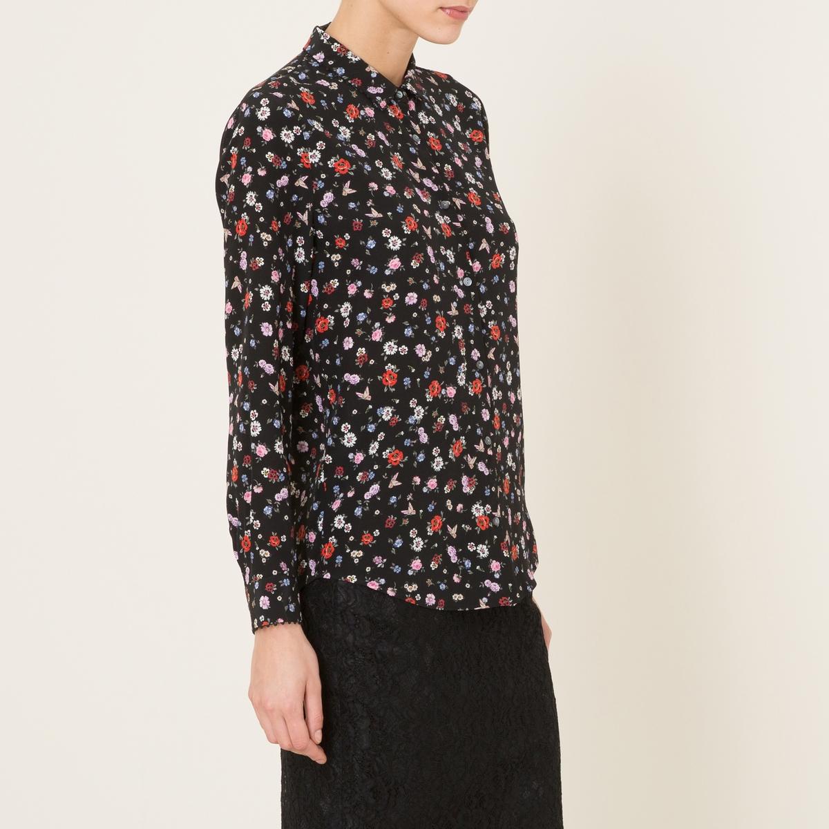 Рубашка шёлковаяСостав и описание          Материал : 100% шелк      Кружевная отделка: 100% хлопокМарка : THE KOOPLES<br><br>Цвет: черный