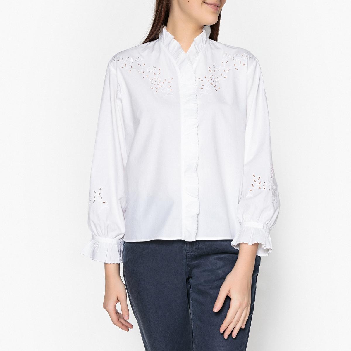 Рубашка с английской вышивкой и воланами DAISY msgm топ с крупными воланами
