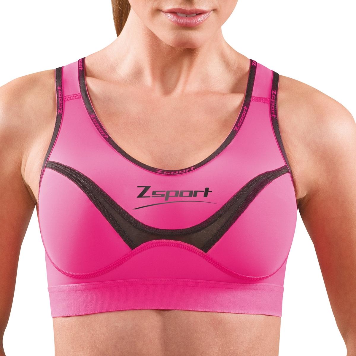 Бюстгальтер спортивный Soft TouchСпортивный бюстгальтер Soft Touch от ZSPORT. Новый покрой, ограничивающий движение груди во время нагрузки, а также предотвращающий перегревание спины. Дышащий техничный текстиль, отводящий влагоиспарения тела.                Широкие бретели с подкадкой из очень мягкого текстиля для оптимальной поддержки. Плоские внешние швы, предотвращающие раздражение кожи.Спинка-борцовка для полной свободы движения.Спортивный бюстгальтер из 84% полиамида, 16% эластана.Стирать при 30°. Не сушить в машинке.<br><br>Цвет: розовый<br>Размер: 90 C (FR) - 75 C (RUS).95 C (FR) - 80 C (RUS)