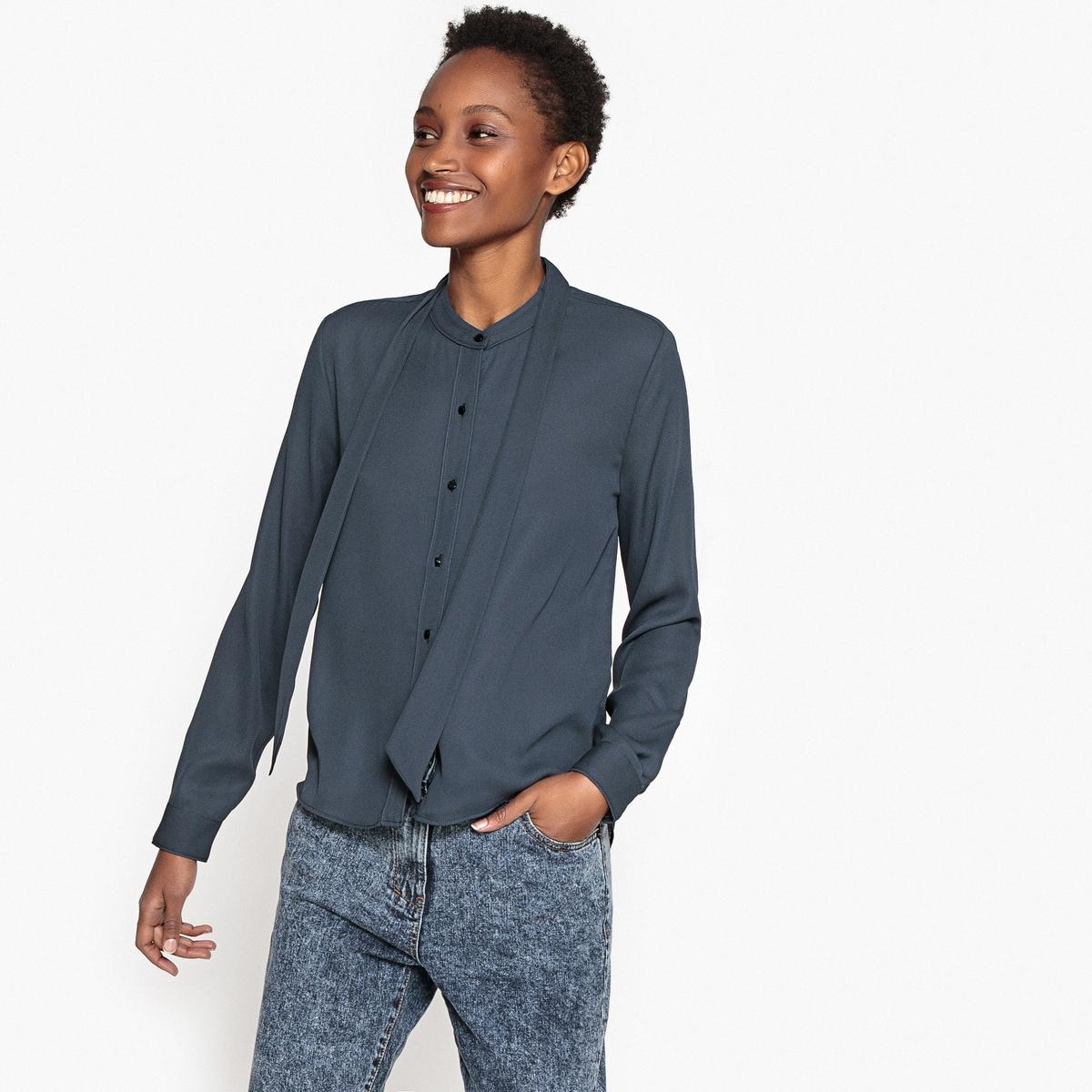 Рубашка однотонная с бантом и длинными рукавамиДетали •  Длинные рукава •  Прямой покрой  •  Галстук-бант •  Кончики воротника на пуговицахСостав и уход •  100% полиэстер •  Следуйте советам по уходу, указанным на этикетке<br><br>Цвет: антрацит<br>Размер: XS