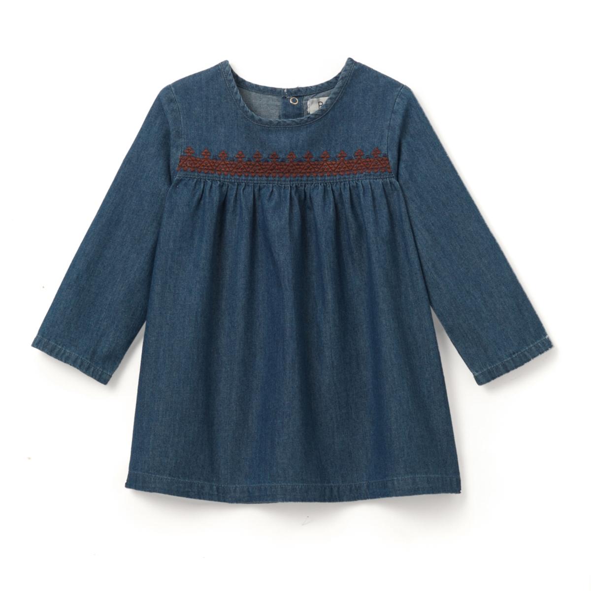 Платье джинсовое с вышивкой, 1 мес. - 3 летДжинсовое платье с длинными рукавами. Отрезная деталь по линии груди украшена контрастной вышивкой и подчеркнута складками. Застежка на пуговицы сзади до середины спинки.Состав и описание : Материал       деним, 100% хлопокУход:Машинная стирка при 30 °C с вещами схожих цветов.Стирка и глажка с изнаночной стороны.Машинная сушка на обычном режиме.Гладить на средней температуре.<br><br>Цвет: синий потертый<br>Размер: 1 мес. - 54 см.2 года - 86 см.18 мес. - 81 см.6 мес. - 67 см