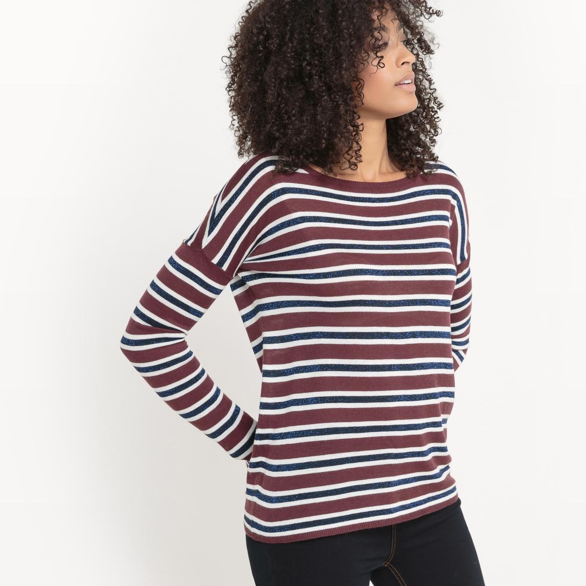 Пуловер из тонкого трикотажа в полоску металлизированной нитью