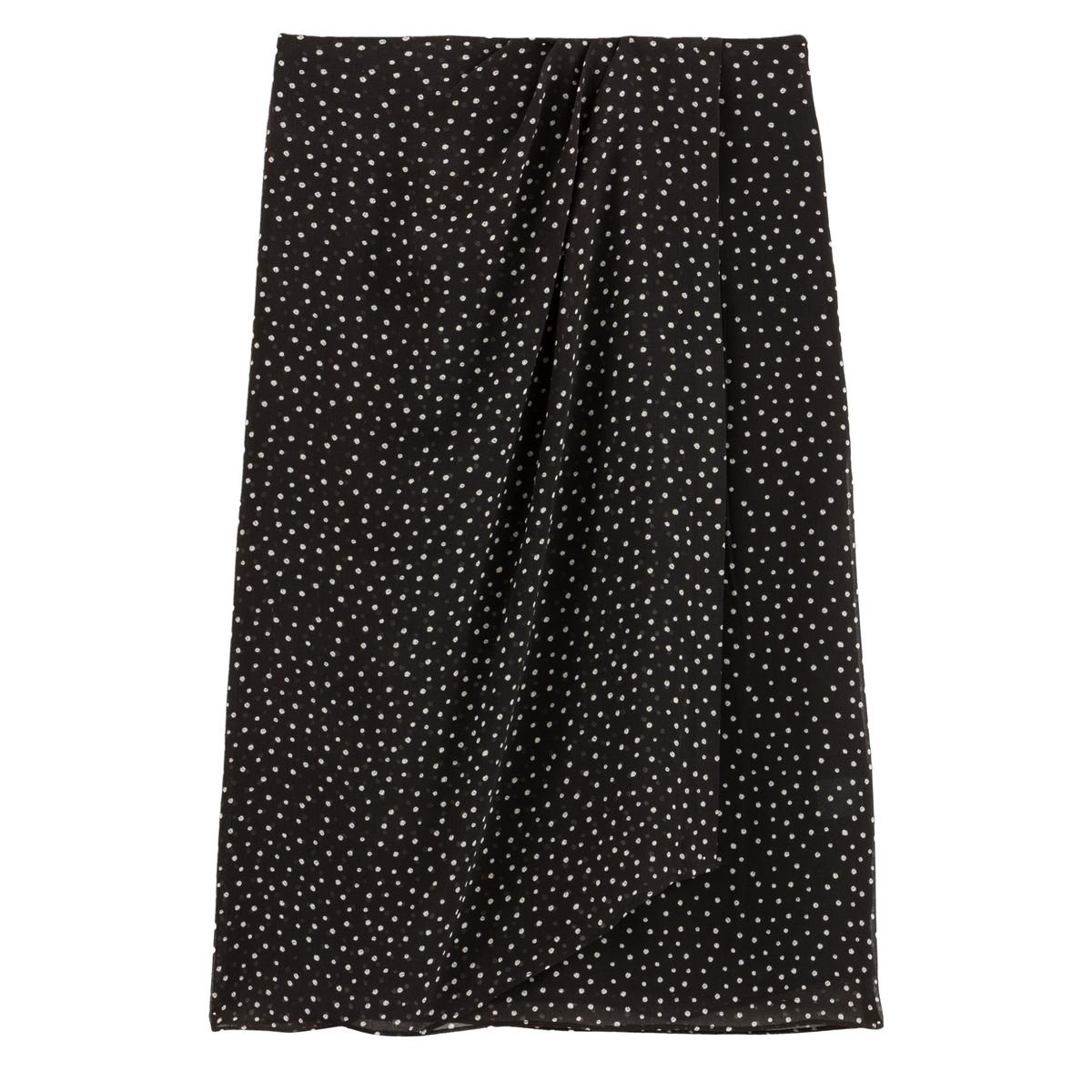 Falda recta con estampado de lunares, efecto drapeado