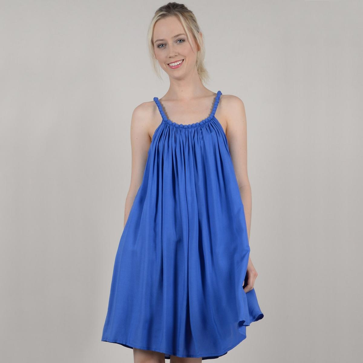 Krótka gładka sukienka rozszerzana, rozkloszowana, na cienkich ramiączkach
