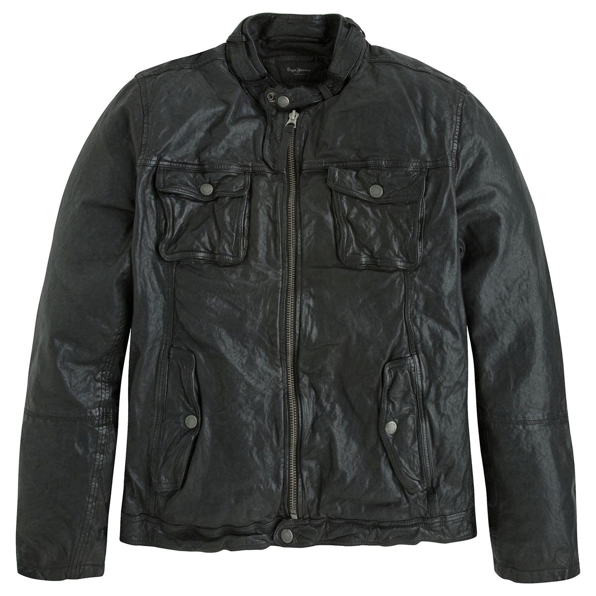Куртка кожаная Ryan в байкерском стиле