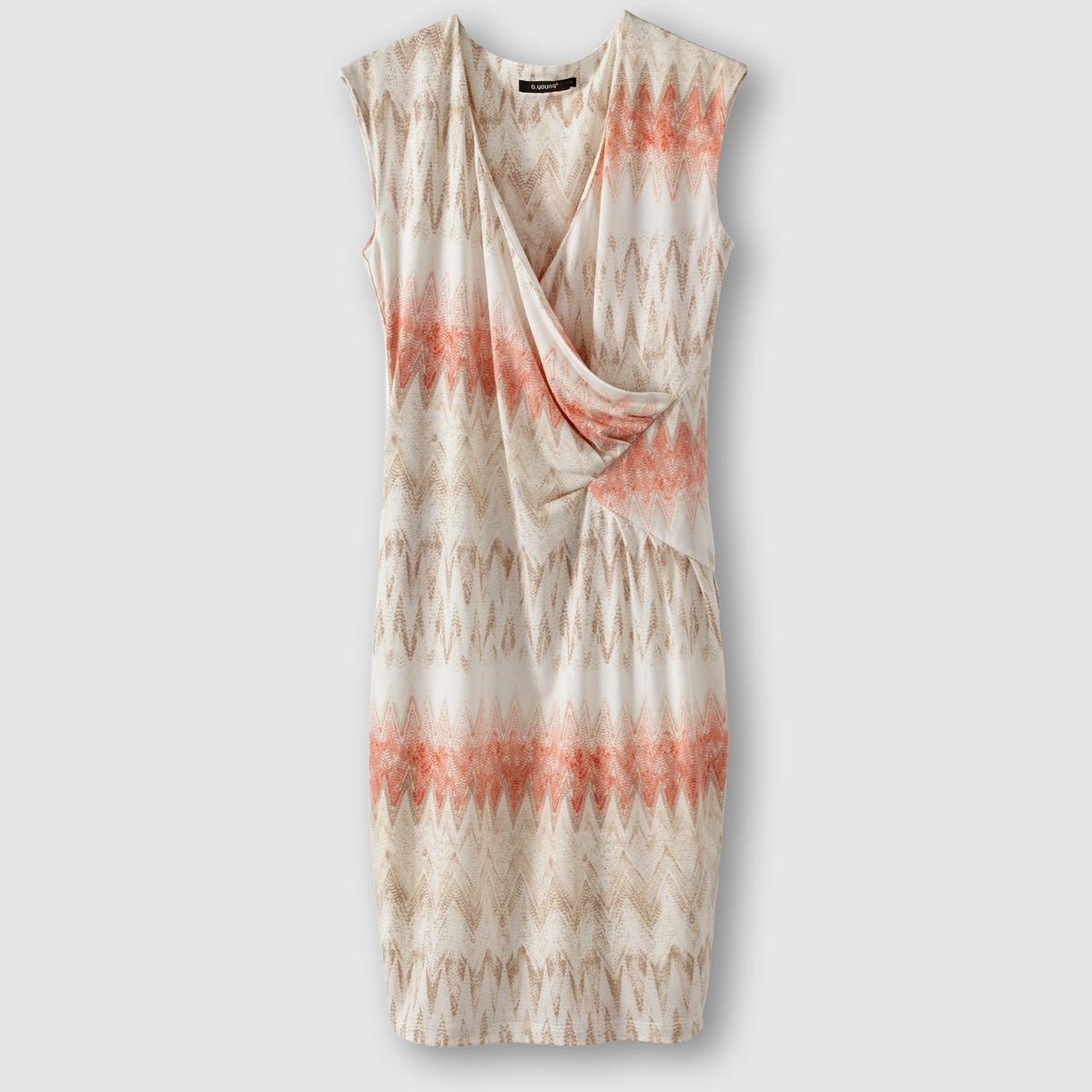 Платье с геометрическим принтом SANJA DRESSСостав и описание     Материал - 95% полиэстера, 5% эластана.     Марка  B.YOUNG<br><br>Цвет: оранжевый/серо-коричневый