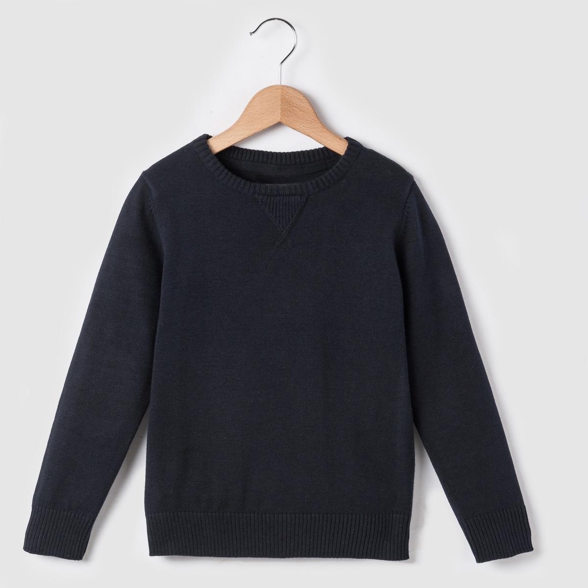Пуловер однотонный на 3-12 лет