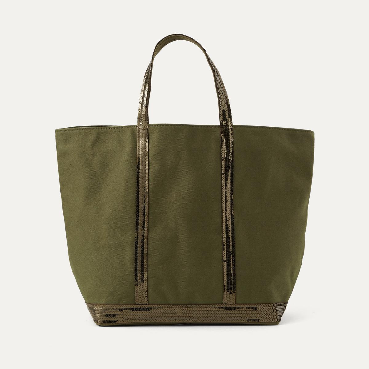 Сумка-шоппер среднего размера из парусины с блесткамиСостав и описание :Материал : 100% хлопокРазмеры : Ш. 48 x В. 32,5 x Г. 16,5 см<br><br>Цвет: зеленый