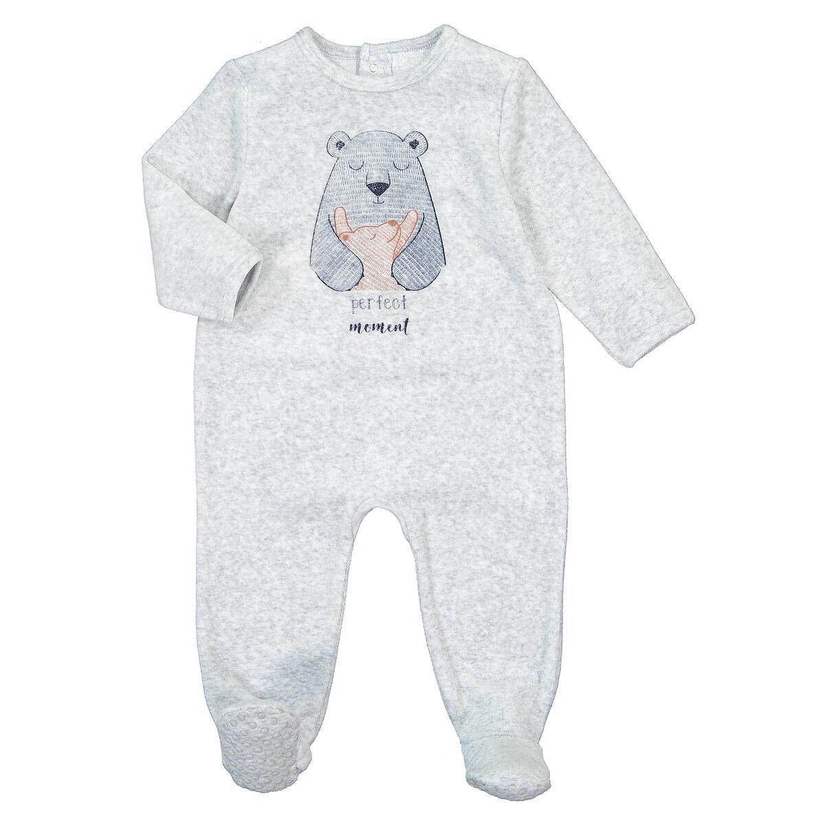 Пижама LaRedoute Из велюра с длинными рукавами 0 мес - 3 года 1 мес. - 54 см серый пижама laredoute с носочками из велюра 0 мес 3 года 3 мес 60 см серый