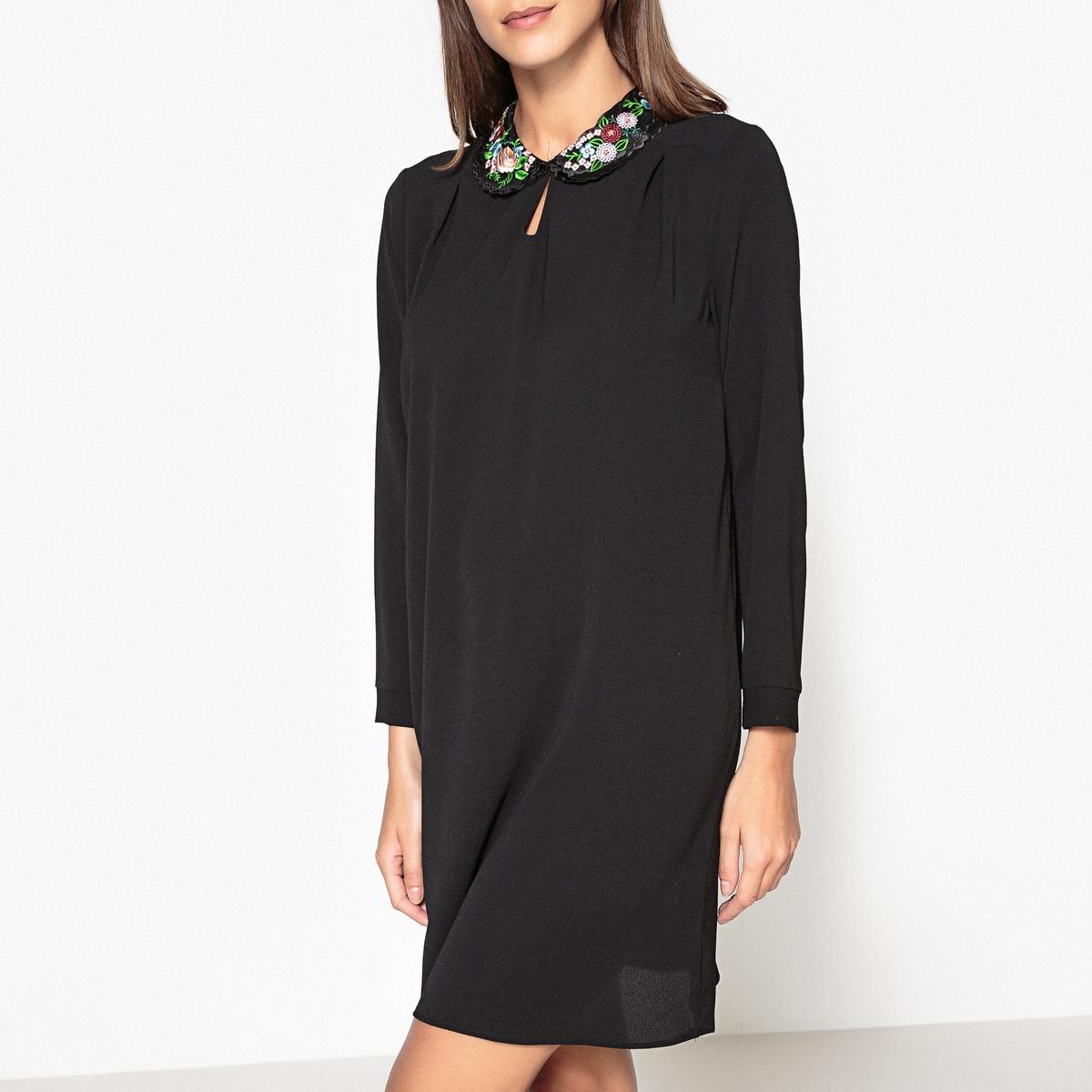 Платье прямого покроя с вышитым вырезом SATURNE