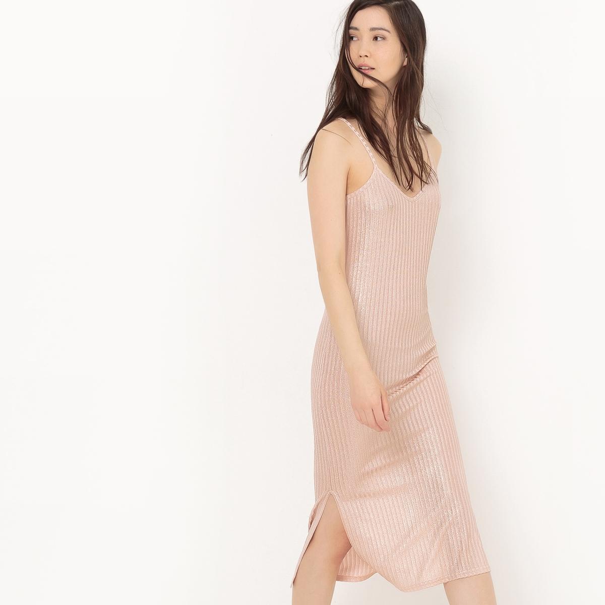 Платье прямое однотонное средней длины с тонкими бретелями