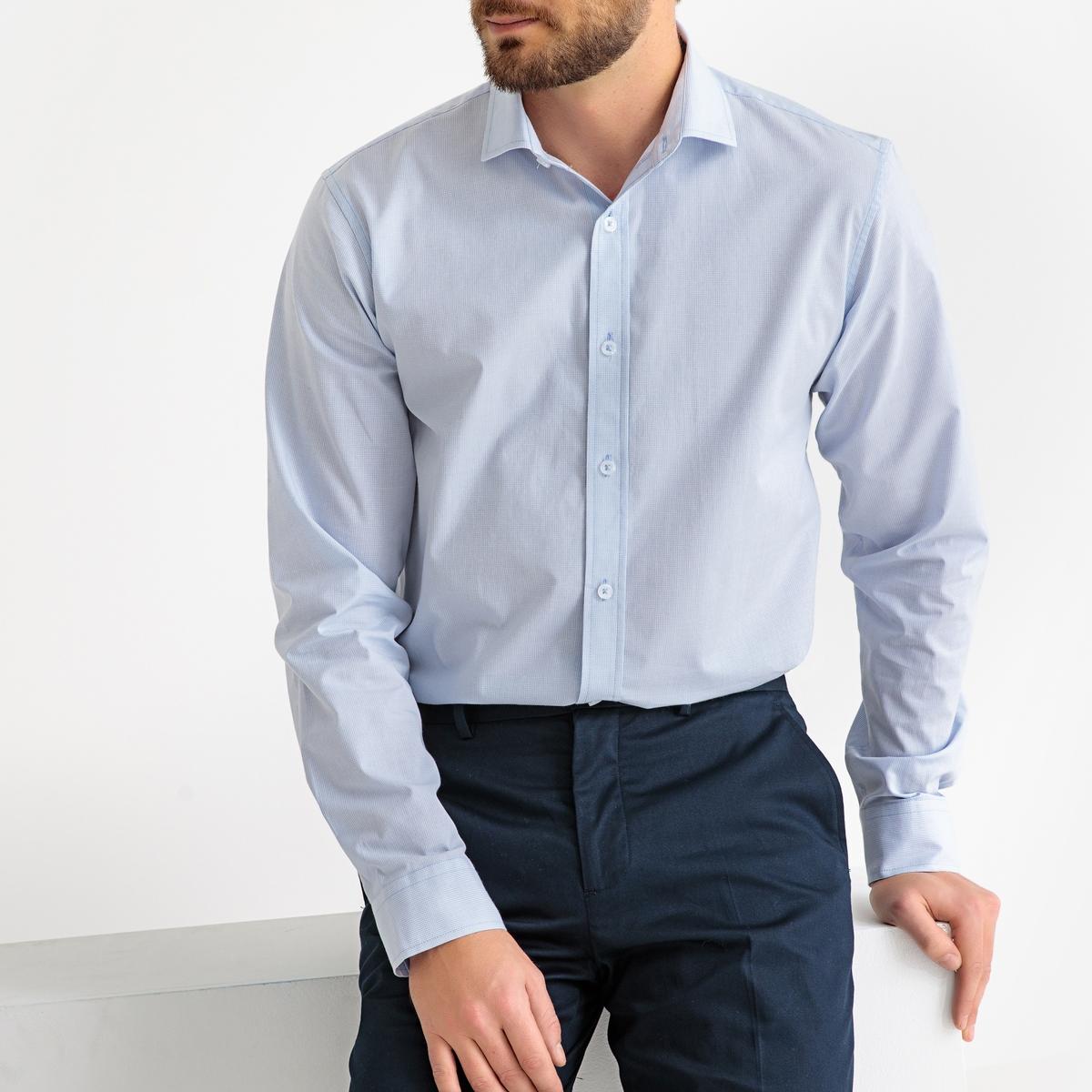 Camisa recta vichy, manga larga