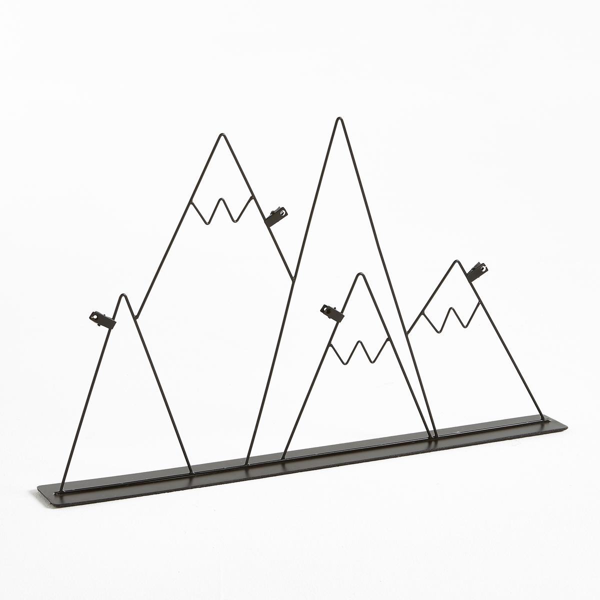 Рамка в форме гор TERIZМеталлическая рамка в форме гор для крепления любимых фотографий на различном уровне.Характеристики рамки Teriz  :Металлическая рамка, покрытая эпоксидной краской. Форма гор. ЗажимыРазмеры рамки Teriz  :65 x 6,5 смВысота 40 см<br><br>Цвет: черный