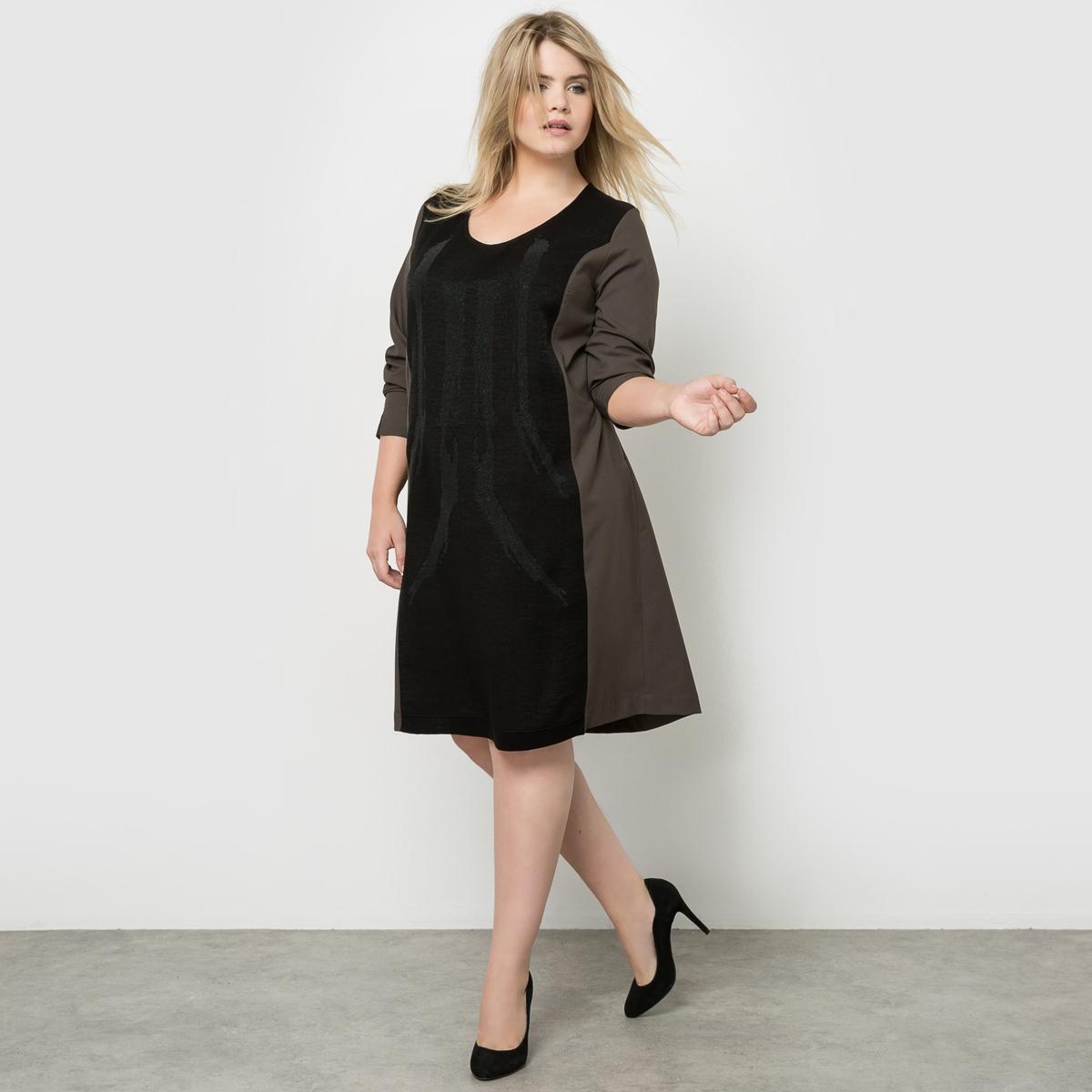 ПлатьеИзысканное и очень удобное платье из блестящего креп-стрейча с принтом икринки.  V-образный вырез.<br><br>Цвет: хаки,черный<br>Размер: 52 (FR) - 58 (RUS).46 (FR) - 52 (RUS).52 (FR) - 58 (RUS)