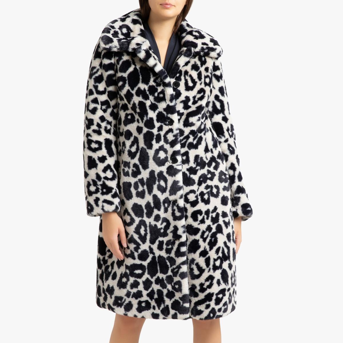 цена Пальто La Redoute Длинное с застежкой на пуговицы и рисунком PROGRAM S черный онлайн в 2017 году