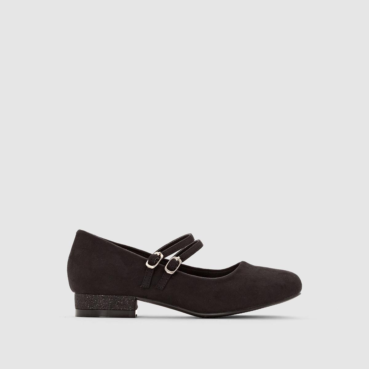 Балетки с двойным ремешком на маленьком каблуке с блестками