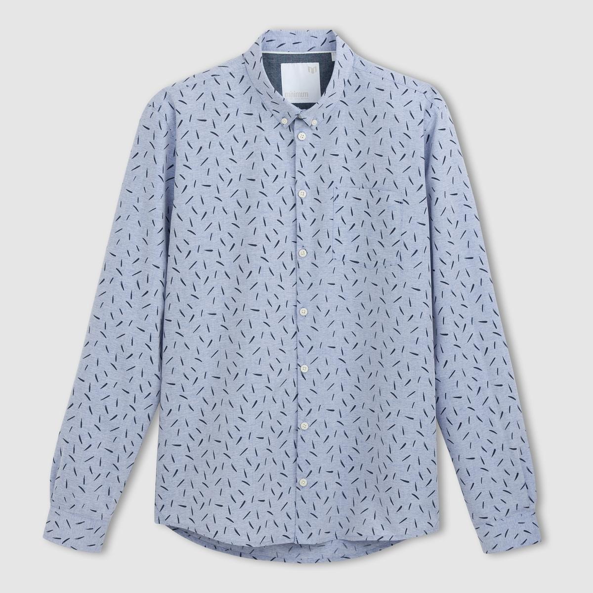 РубашкаРубашка MINIMUM100% хлопка. Края воротника на пуговицах. Длинные рукава.<br><br>Цвет: синий<br>Размер: S