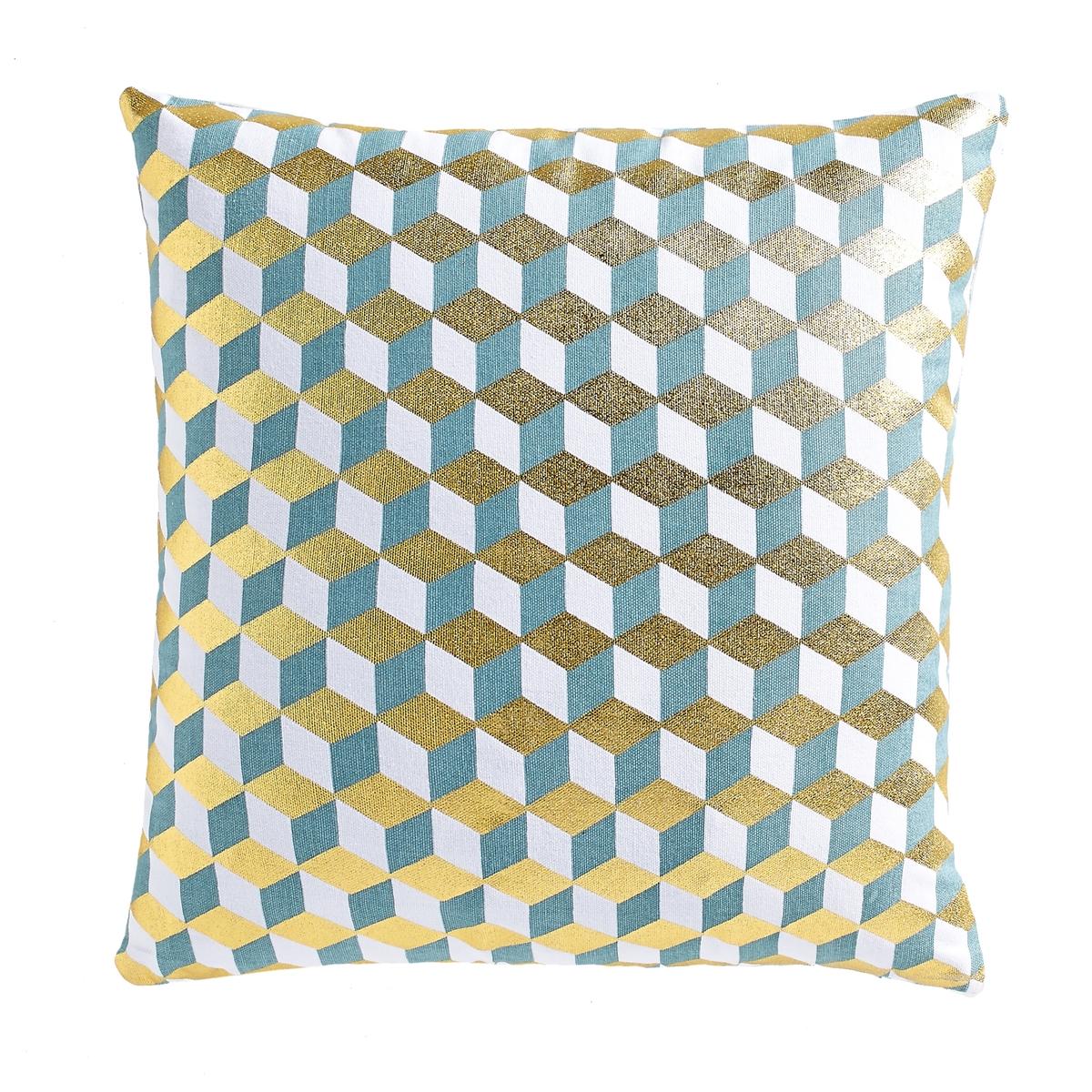 Чехол для подушкиЧехол для подушки Decio. Красивый геометрический рисунок с одной стороны, однотонный белый цвет с другой стороны. Застежка на скрытую молнию в тон. Стирка при 30°. 100% хлопка. Размер: 40 х 40 см.<br><br>Цвет: бледно-зеленый/латунь