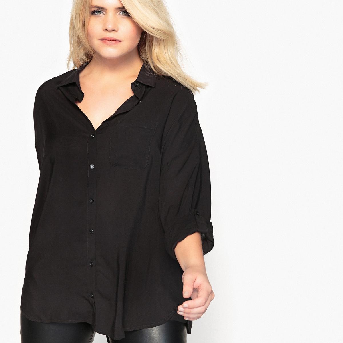 Рубашка струящаяся с закатывающимися рукавамиОписание:Вам понравится эта длинная рубашка. Идеально смотрится с леггинсами. Рубашка с длинными рукавами - базовый предмет женского гардероба.Детали •  Длинные рукава •  Прямой покрой •  Воротник-поло, рубашечныйСостав и уход •  100% вискоза •  Температура стирки 30° на деликатном режиме •  Сухая чистка и отбеливание запрещены •  Не использовать барабанную сушку •  Низкая температура глажкиТовар из коллекции больших размеров •  Длина : 77,8 см<br><br>Цвет: вишневый,слоновая кость<br>Размер: 62 (FR) - 68 (RUS).58 (FR) - 64 (RUS).56 (FR) - 62 (RUS).54 (FR) - 60 (RUS).52 (FR) - 58 (RUS).50 (FR) - 56 (RUS).48 (FR) - 54 (RUS).60 (FR) - 66 (RUS)