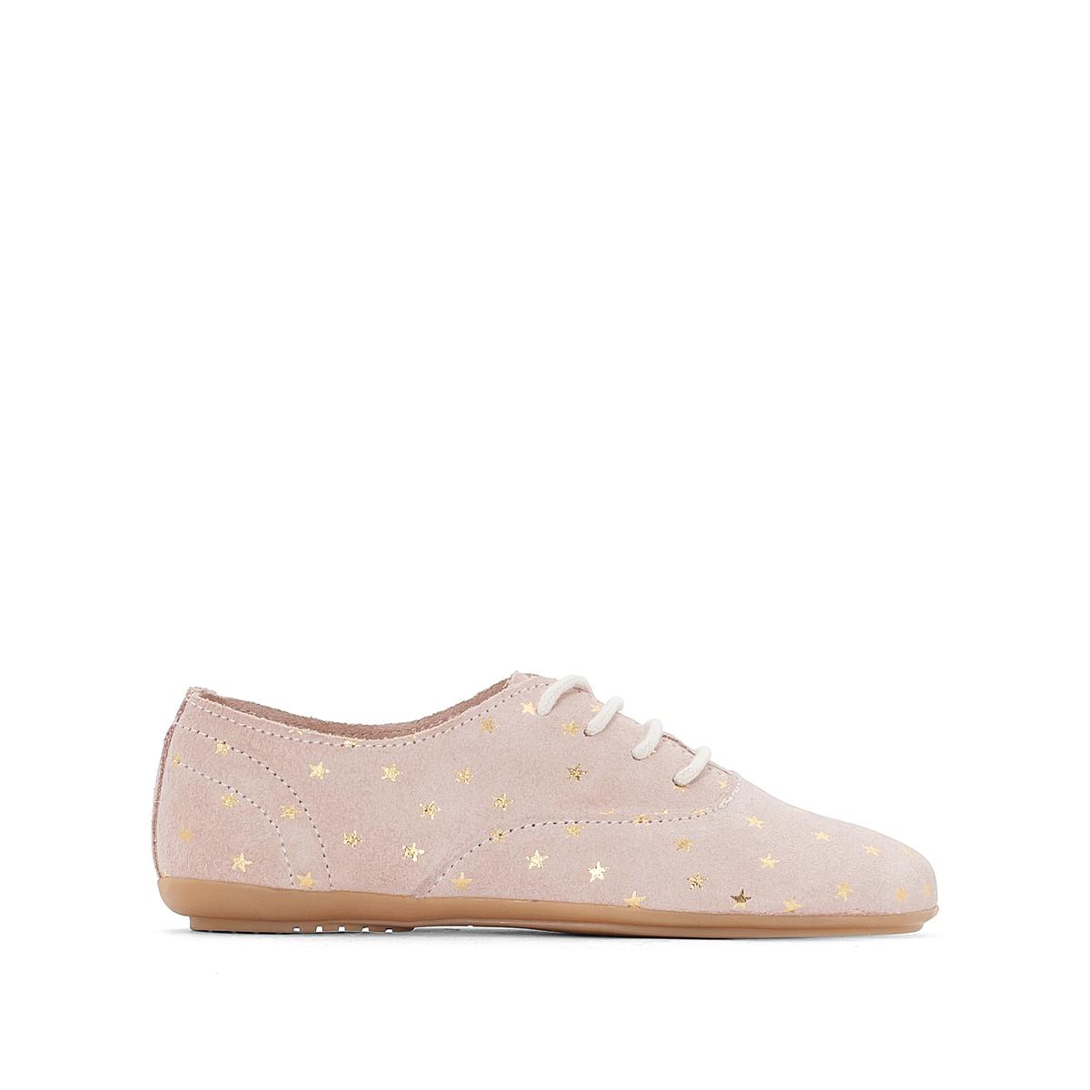 цена Ботинки-дерби La Redoute Кожаные со звздами - 39 розовый онлайн в 2017 году