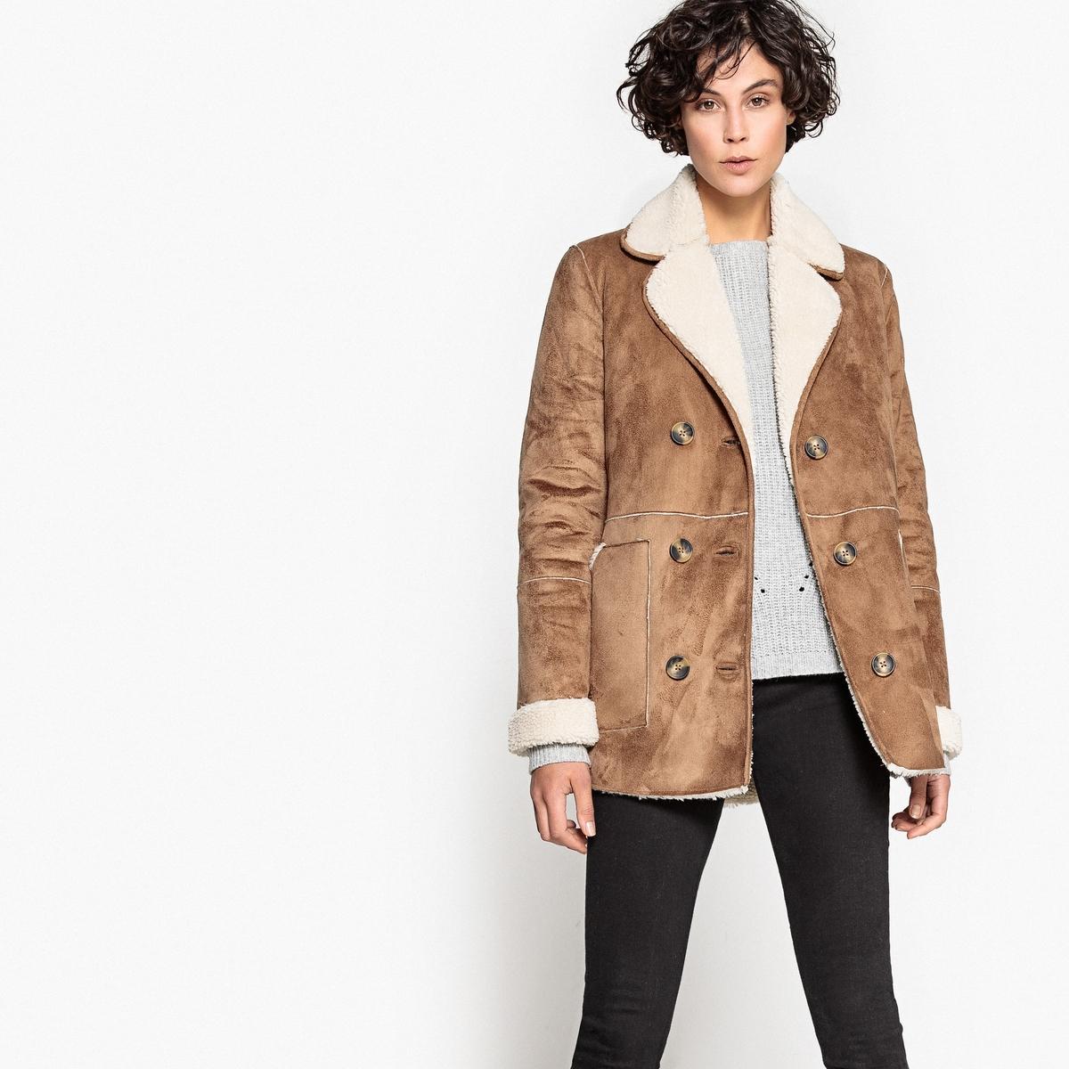 Пальто женское из бархатистой искусственной кожи