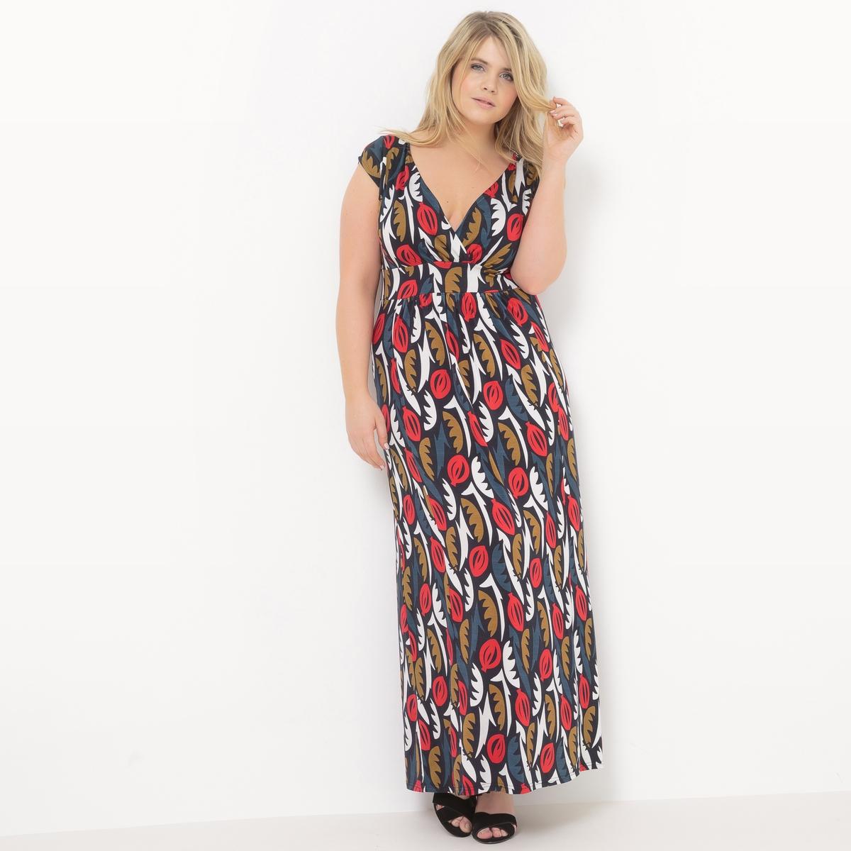 Платье-макси длинное без рукавов с принтом