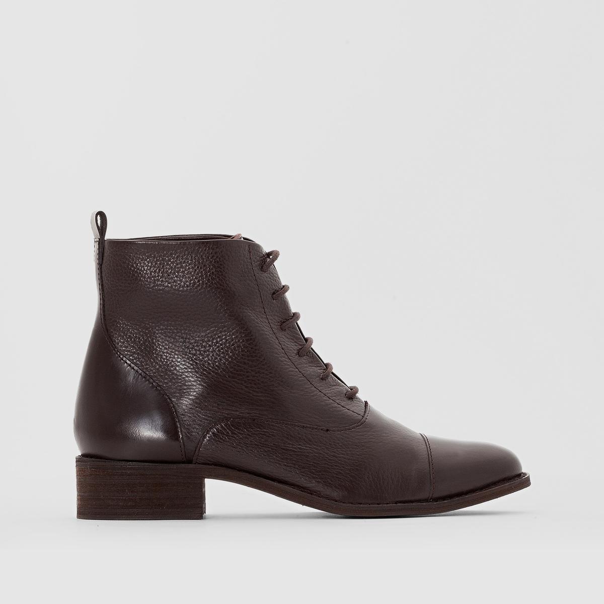 Ботинки на шнуровкеПодкладка : кожа         Стелька : кожа         Подошва : эластомер Форма каблука : плоский каблук    Мысок : закругленный         Застежка : на шнуровку<br><br>Цвет: шоколадный<br>Размер: 37