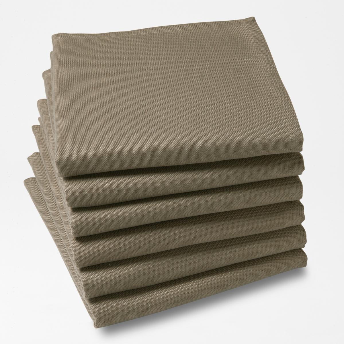 6 салфетокКомплект из 6 однотонных столовых салфеток из 100% полиэстера с покрытием от пятен. Легкость ухода, глажение не требуется.Характеристики столовых салфеток:100% полиэстера.Покрытие от пятен.Подшитые края. Стирать при 40°.Размер. 45 x 45 см.Знак Oeko-Tex® гарантирует, что товары протестированы и сертифицированы, не содержат вредных веществ, которые могли бы нанести вред здоровью.<br><br>Цвет: белый,светло-серый,серо-коричневый каштан,серый,сине-зеленый<br>Размер: 45 x 45  см.45 x 45  см.45 x 45  см.45 x 45  см.45 x 45  см