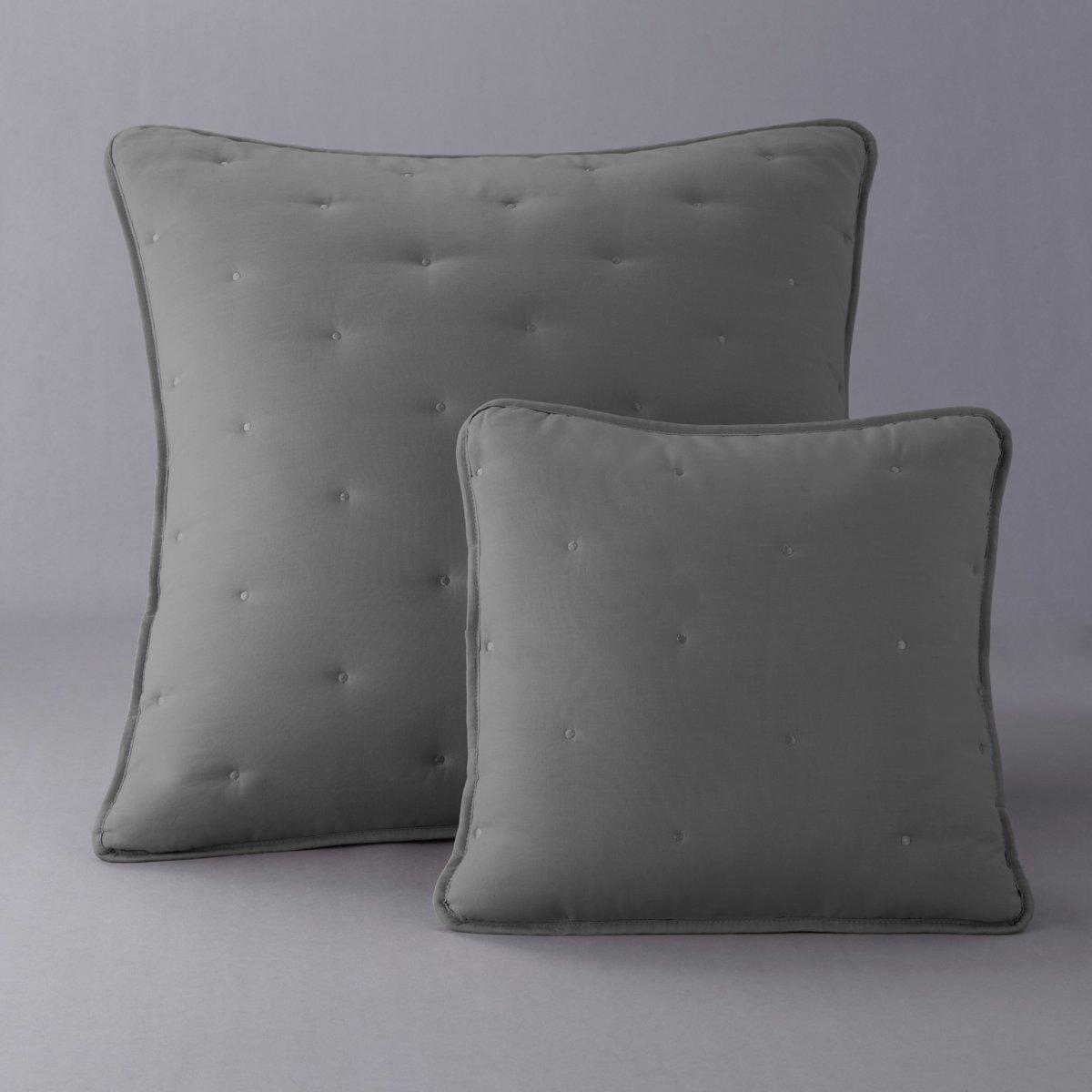 Чехол стеганый для подушкиЧехол для подушки с красивой простежкой. Чехол из 100% хлопка. Наполнитель из полиэстера (200 г/м?). Отделка кантом. Стирка при 40°. С клапаном и завязками.<br><br>Цвет: антрацит/светло-серый<br>Размер: 65 x 65  см