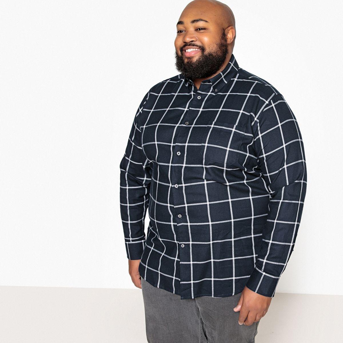 Chemise droite grande taille à carreaux
