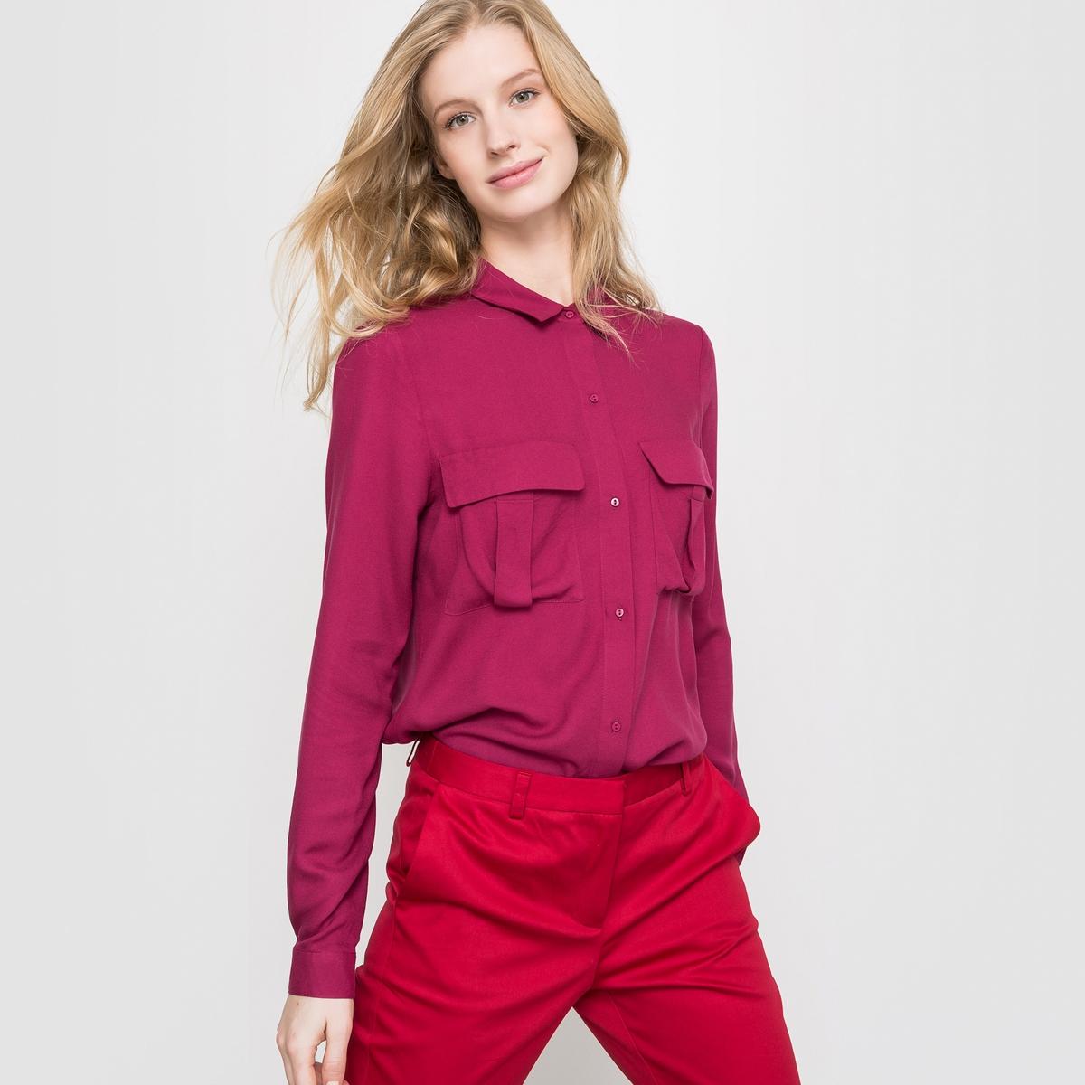 Блузка из вискозы, длинные рукава<br><br>Цвет: розовый-вишневый<br>Размер: 38 (FR) - 44 (RUS)