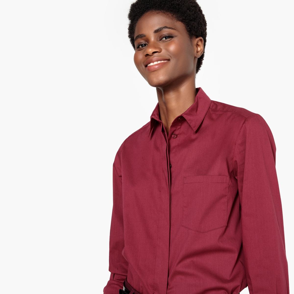 Camisa com corte direito, mangas compridas