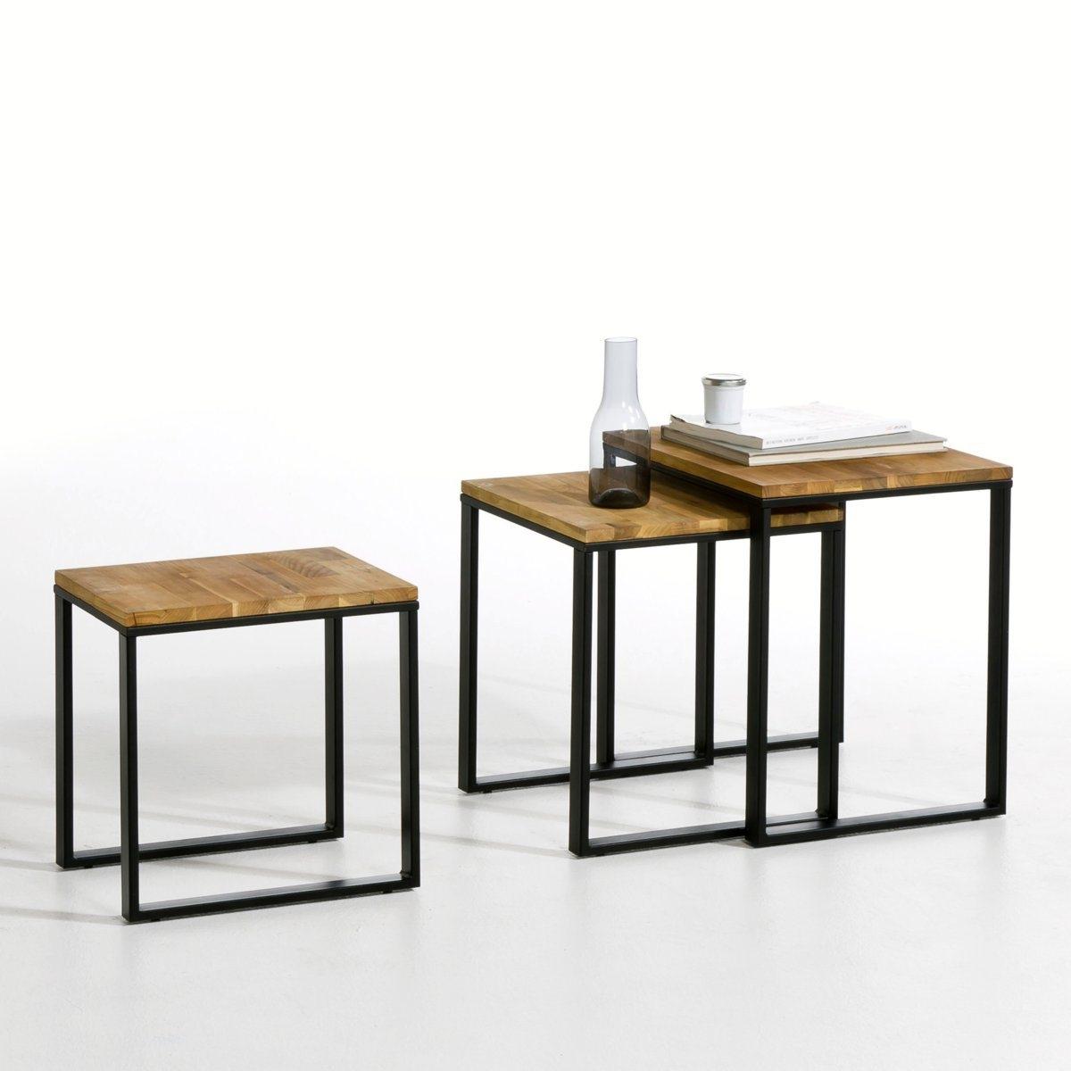 3 журнальных столика, вдвигающихся один в другой, Hiba3 стола, вдвигающихся один в другой, из массива дуба с соединением встык с пропиткой олифой, Hiba. Это модель создана по образу старой промышленной мебели, она очарует Вас своей сдержанностью и современным стилем под старину. Благородные материалы: дуб и сталь. Ножки салазки из стали, покрытые черным лаком, отделка под старину, чтобы создать эффект мебели мастерской. Описание столов, вдвигающихся один в другой, из дуба и стали Hiba : Каркас и ножки-салазки Защитные накладки на ножках. Характеристики столов, вдвигающихся один в другой, из дуба и стали Hiba : Столешница из массива дуба, пропитка олифой для сохранения натурального цвета дерева.Покрытие не требует специального ухода.Каркас и ножки из стали покрыты черным эпоксидным лаком, отделка под старину (создание слегка неравномерного рельефа) Всю коллекцию Hiba вы можете найти на сайте laredoute.ru.Размеры столов, вдвигающихся один в другой, из дуба и стали Hiba : Большой стол :Ширина : 50 смВысота : 50 смГлубина : 40 смСредний стол : Ширина : 40 смВысота : 45 смГлубина : 40 см Маленький стол : Ширина : 30 смВысота : 40 смГлубина : 40 смРазмеры и вес упаковки :1 упаковкаШ.60 x В.30 x Г.52 см 20 кгДоставка:Товар продается в разобранном виде.Доставка на этаж по предварительной договоренности!Внимание! Убедитесь, что товар возможно доставить, учитывая его габариты (проходит в дверные проемы, лифты, по лестницам).<br><br>Цвет: ореховый