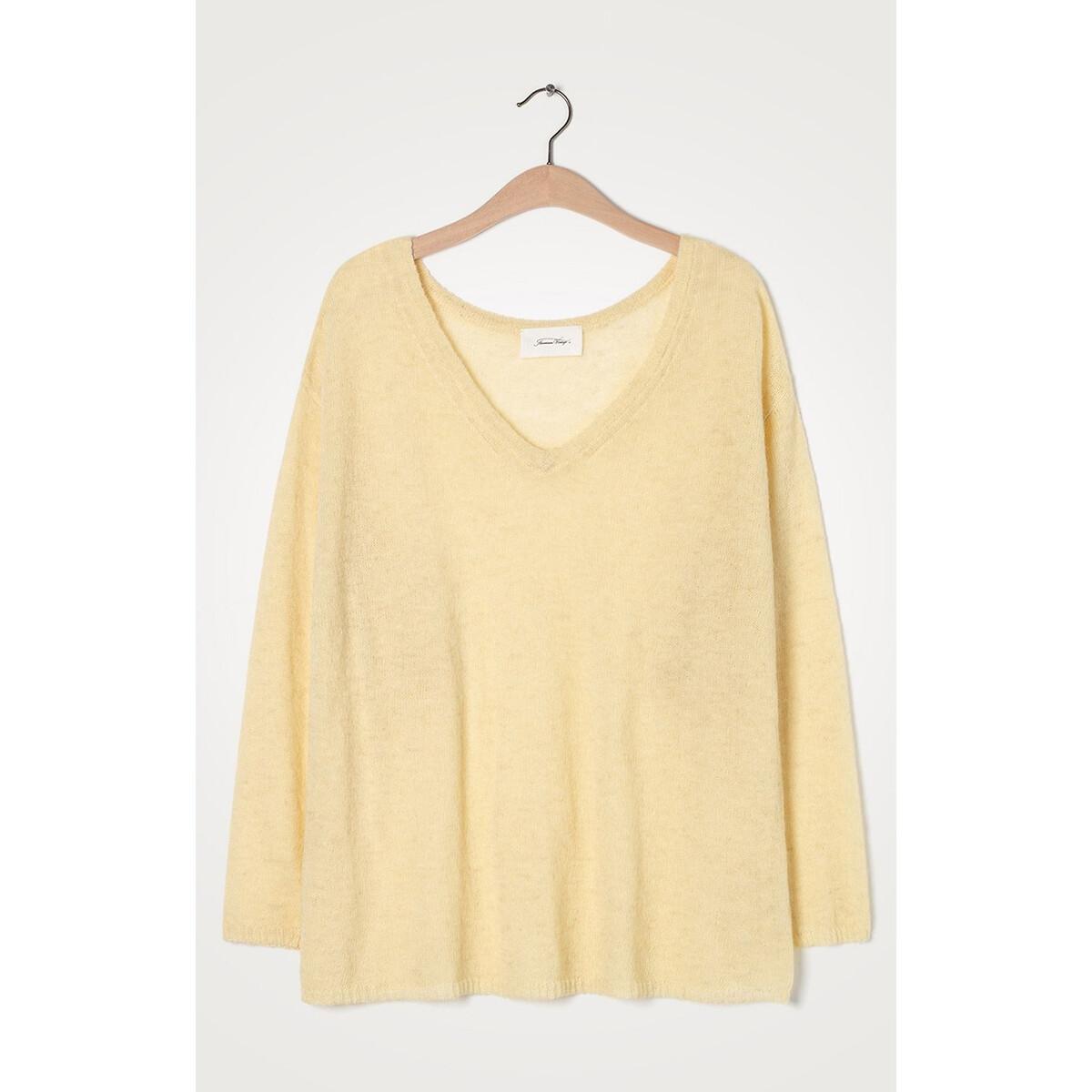 Пуловер LaRedoute С V-образным вырезом из тонкого трикотажа S/M желтый