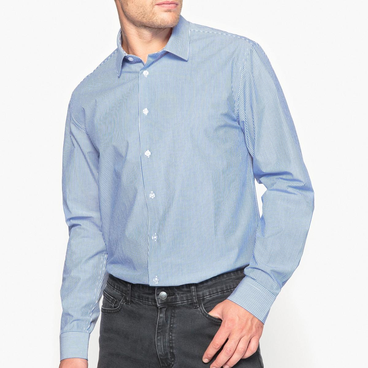 Рубашка узкого покроя в полоску, 100% хлопокОписание •  Длинные рукава  •  Приталенный покрой  •  Итальянский воротник  •  Рисунок в полоску Состав и уход •  100% хлопок  •  Машинная стирка при 40 °С  •  Сухая чистка и отбеливание запрещены    •  Не использовать барабанную сушку   •  Низкая температура глажки<br><br>Цвет: в полоску белый/синий<br>Размер: 47/48