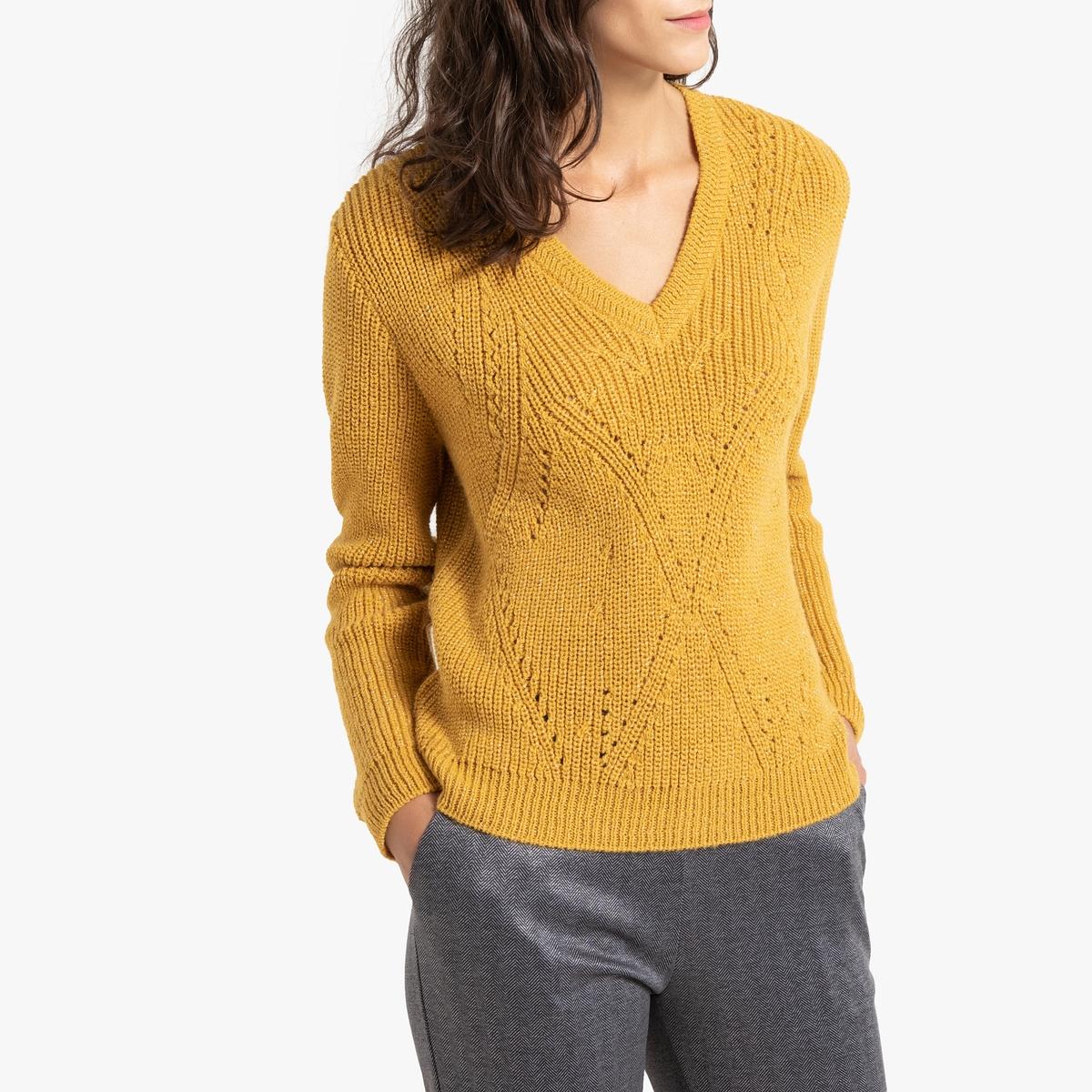 Пуловер La Redoute С V-образный вырезом из блестящего трикотажа 34/36 (FR) - 40/42 (RUS) желтый пуловер из блестящего трикотажа 3 12 лет