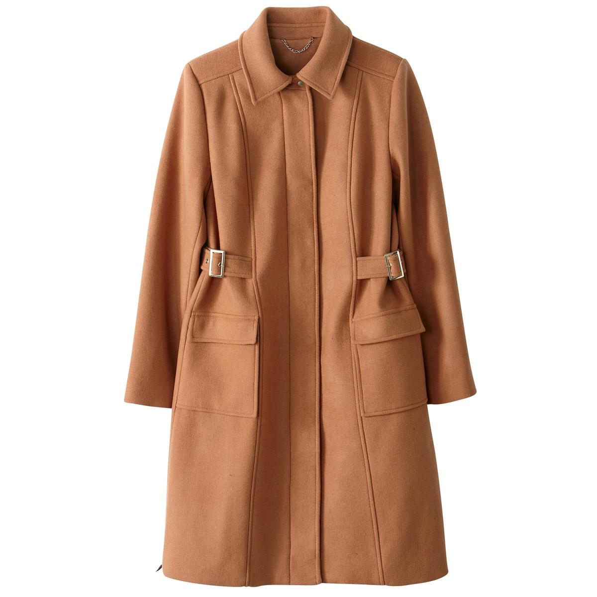 Пальто на молнии 72% шерстиУтепленное пальто из смесовой шерсти очень модного покроя из структурной ткани . Симпатичные ремешки с пряжками, которые подчеркивают талию .Детали •  Длина : удлиненная модель •  Воротник-стойка •  Застежка на молниюСостав и уход •  72% шерсти, 7% акрила, 1% полиамида, 20% полиэстера • Не стирать •  Деликатная чистка/без отбеливателей •  Не использовать барабанную сушку   •  Низкая температура глажки •  Длина : 100 см.<br><br>Цвет: темно-бежевый,черный<br>Размер: 50 (FR) - 56 (RUS).38 (FR) - 44 (RUS).34 (FR) - 40 (RUS)