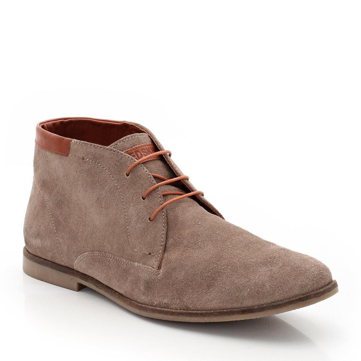 Ботинки велюровыеВелюровые ботинки Niplo от REDSKINS : Верх: велюр. Подкладка: текстиль + кожа. Стелька: кожа. Подошва: каучук Застежка: на шнуровке. Высота голенища: 11 см. Высота каблука : 2 см. Удобные и красивые ботинки прекрасно сочетаются с брюками-чино и джинсами! Дополнительно: Верх голенища и этикетка марки из натуральной контрастной кожи.<br><br>Цвет: серо-коричневый