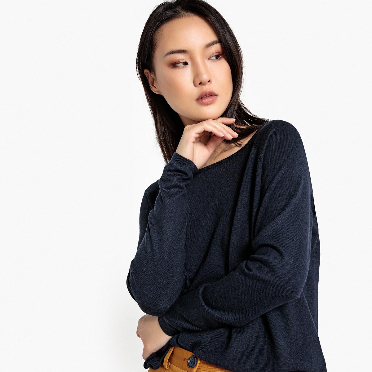 Пуловер с вырезом-лодочкой, форма футляра