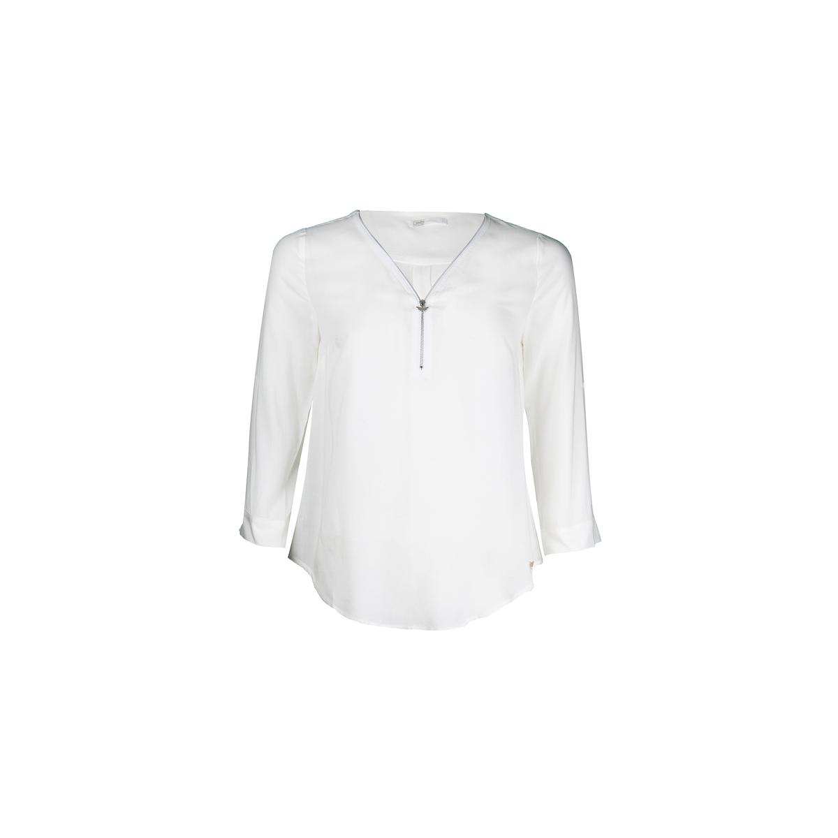 Блузка однотонная с V-образным вырезом и длинными рукавами цены онлайн