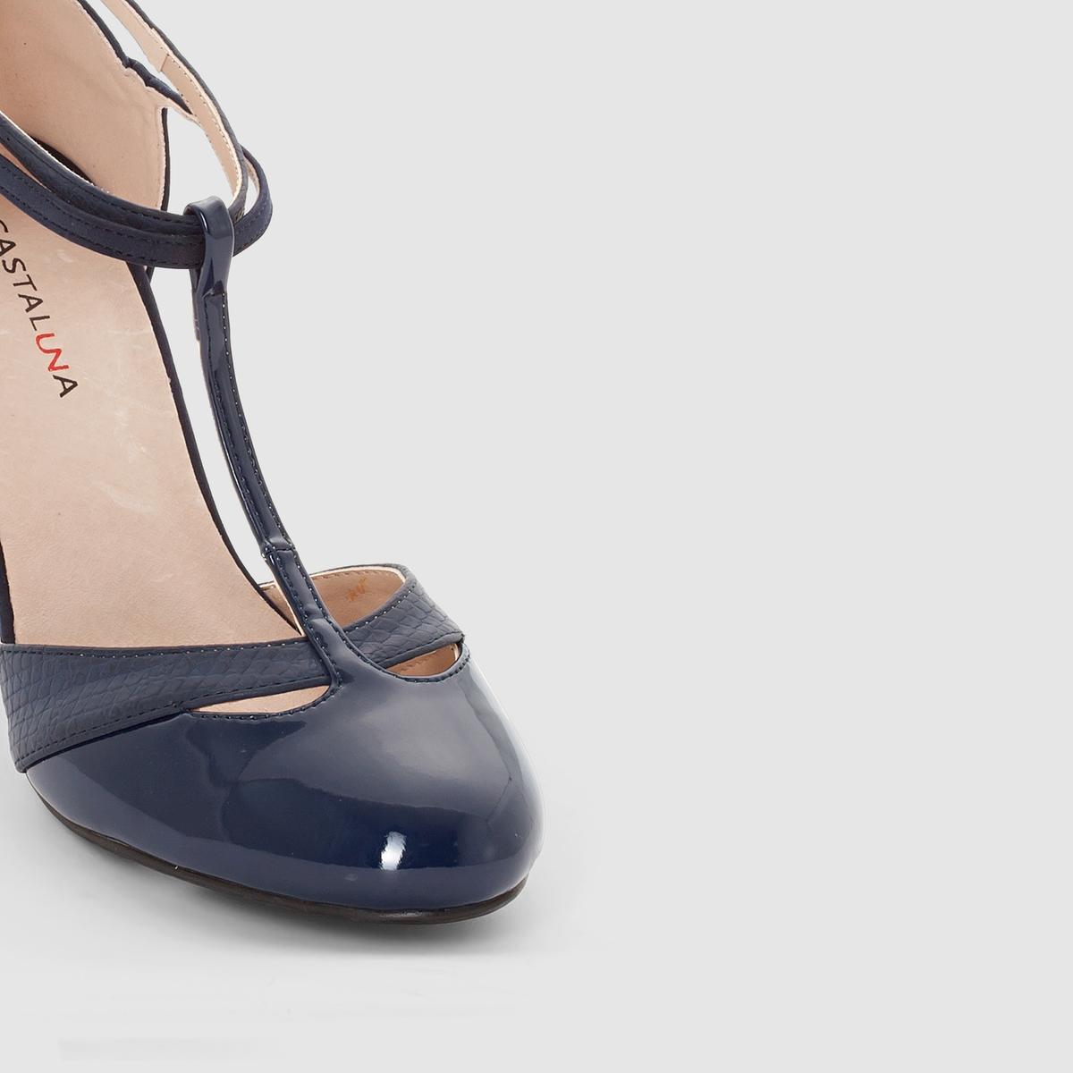 Туфли на каблукеМарка : CASTALUNAПодходит : для широкой стопы.Верх : искусственная замша, лакированная синтетика под кожу питона.Подкладка : синтетикаСтелька : кожа.Подошва : из эластомера .Каблук  : 8,5 см.Преимущества : Идеальны для повседневной одежды.<br><br>Цвет: серо-коричневый,синий морской<br>Размер: 41