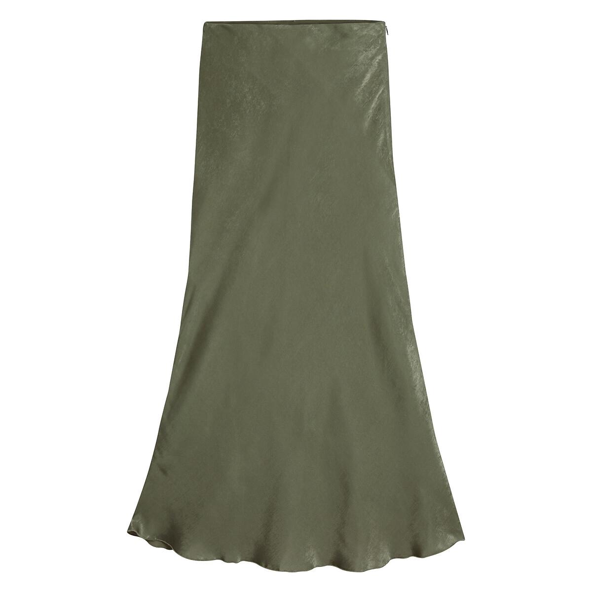Falda larga tipo tubo satinada