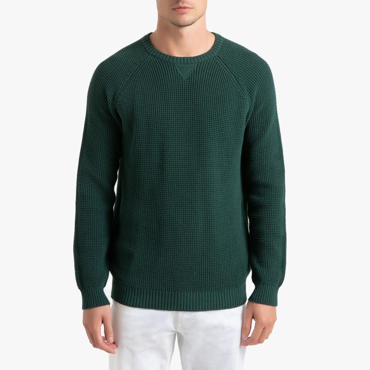 Пуловер La Redoute С круглым вырезом из плотного трикотажа S зеленый пуловер la redoute с круглым вырезом из плотного трикотажа 3xl бежевый