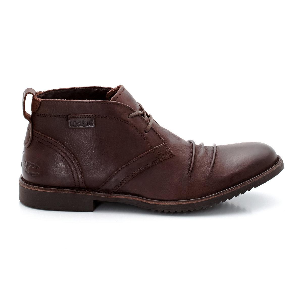 Ботинки кожаныеКожаные ботинки, модель Jecho2 от KICKERS. Верх: 100% кожи (коровья). Верх: велюр. Стелька: велюр. Подошва: резина. Застежка: на шнуровке. Высота верха: ок.10 см. Неоспоримые плюсы: красивые ботинки, обольщающие своими деталями и оригинальной отделкой. Оригинальный бунтарский дух от KICKERS.<br><br>Цвет: темный каштан