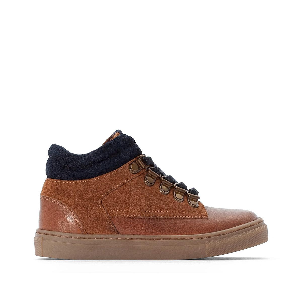 Кеды La Redoute Кожаные на шнуровке в горном стиле размеры - 28 каштановый